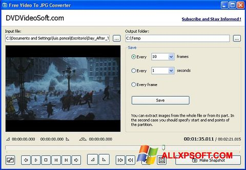 Snimak zaslona Free Video to JPG Converter Windows XP