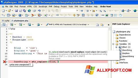 Snimak zaslona phpDesigner Windows XP