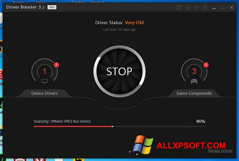 Snimak zaslona Driver Booster Windows XP