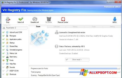Snimak zaslona Vit Registry Fix Windows XP