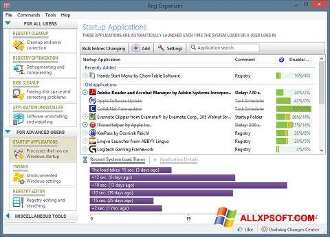 Snimak zaslona Reg Organizer Windows XP