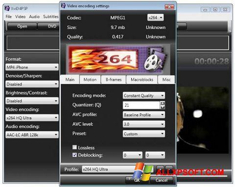 Snimak zaslona XviD4PSP Windows XP