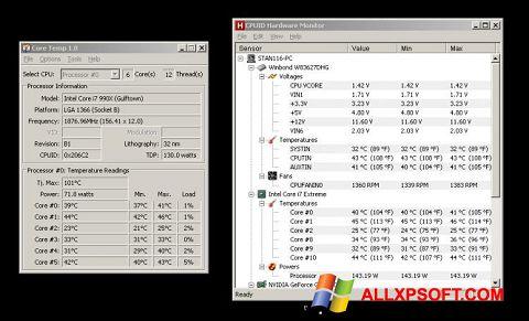 Snimak zaslona Core Temp Windows XP
