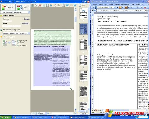 Snimak zaslona ABBYY PDF Transformer Windows XP