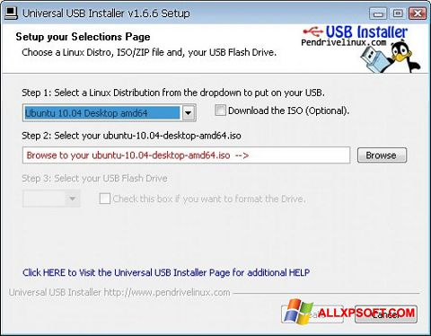 Snimak zaslona Universal USB Installer Windows XP