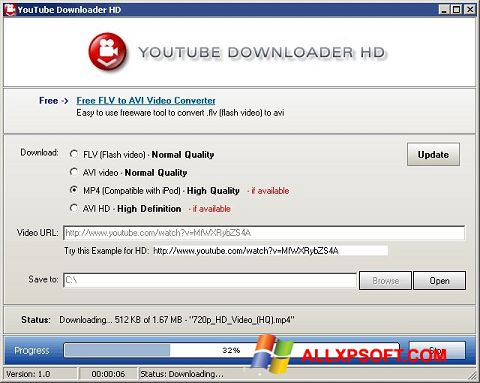 Snimak zaslona Youtube Downloader HD Windows XP