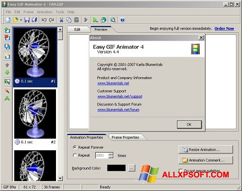Snimak zaslona Easy GIF Animator Windows XP
