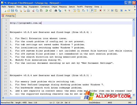 Snimak zaslona Notepad++ Windows XP