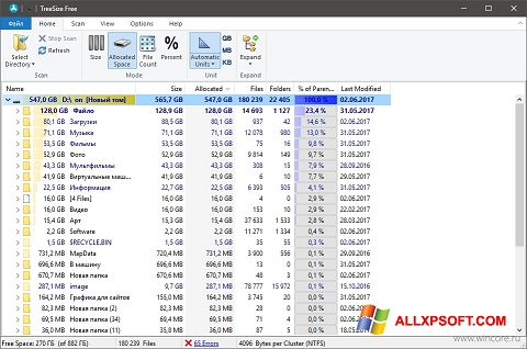 Snimak zaslona TreeSize Free Windows XP