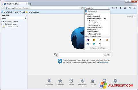 Snimak zaslona Waterfox Windows XP