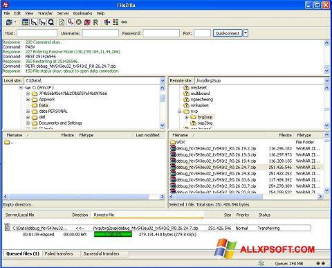 Snimak zaslona FileZilla Server Windows XP