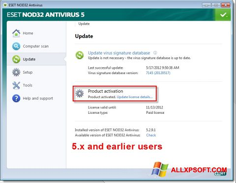 Snimak zaslona ESET NOD32 Windows XP