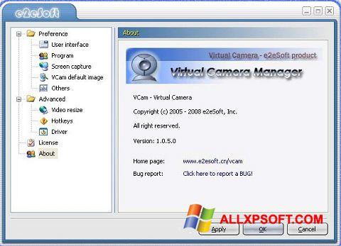 Snimak zaslona VCam Windows XP