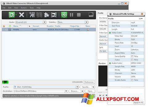 Snimak zaslona Xilisoft Video Converter Windows XP