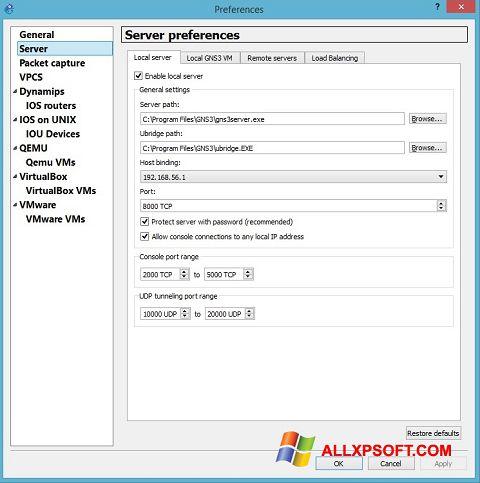 Snimak zaslona GNS3 Windows XP