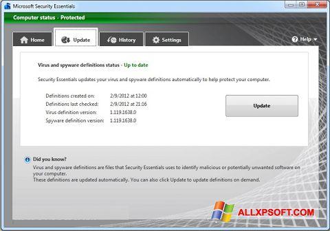 Snimak zaslona Microsoft Security Essentials Windows XP