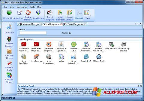 Snimak zaslona Revo Uninstaller Pro Windows XP