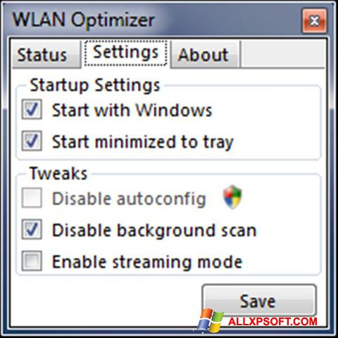 Snimak zaslona WLAN Optimizer Windows XP